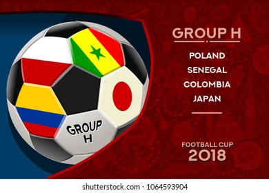 Russia World Cup 2018 football. Match schedule countries group H scoreboard soccer. Stadium time table background vector illustration set collection.