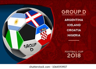 Russia World Cup 2018 football. Match schedule countries group D scoreboard soccer. Stadium time table background vector illustration set collection.