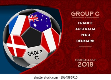 Russia World Cup 2018 football. Match schedule countries group C scoreboard soccer. Stadium time table background vector illustration set collection.