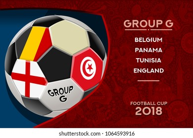Russia World Cup 2018 football. Match schedule countries group G scoreboard soccer. Stadium time table background vector illustration set collection.