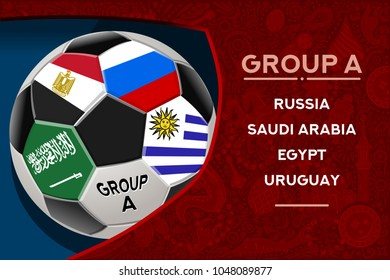 Russia world cup 2018 group a wallpaper with russian pattern and football ball. Vector design.