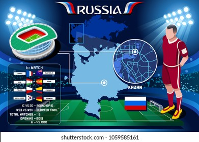 Russia world cup 2018. Kazan Arena stadium infographic. Soccer Opening championship player russian Rubin football club jersey. Vector Illustration set simple style.
