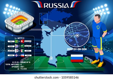 Russia world cup 2018. Rostov-on-don Arena football stadium infographic. Soccer Opening championship player russian Rostov club jersey. Vector Illustration set simple style.