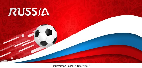 Russia world cup 2018 soccer event illustration, web banner design of football ball with russian flag colors. EPS10 vector.