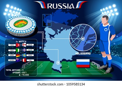 Russia world cup 2018 stadium. Volgograd Arena football stadium infographic. Soccer Opening championship player russian rotor club jersey. Vector Illustration set simple style.