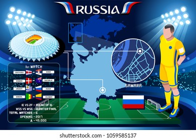 Russia world cup 2018 stadium. Samara stadium  football Cosmos Arena infographic. Soccer Opening championship player russian Krylya club jersey. Vector Illustration set simple style.