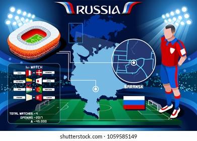 Russia world cup 2018 Stadium. Saransk Arena football stadium infographic. Soccer Opening championship player russian Mordovia club jersey vector illustration set.