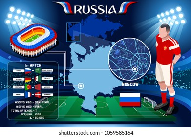 Russia world cup 2018 stadium. Moscow Luzhniki football stadium infographic. Soccer Opening championship player russian club jersey Vector Illustration set simple style.