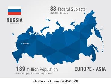 Russia world map with a pixel diamond pattern.World Geography.