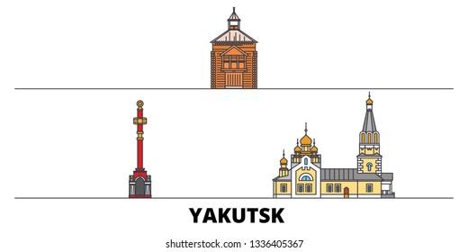 Russia, Yakutsk flat landmarks vector illustration. Russia, Yakutsk line city with famous travel sights, skyline, design.