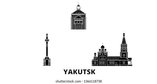 Russia, Yakutsk flat travel skyline set. Russia, Yakutsk black city vector illustration, symbol, travel sights, landmarks.
