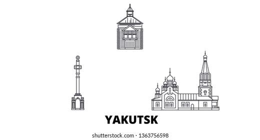 Russia, Yakutsk line travel skyline set. Russia, Yakutsk outline city vector illustration, symbol, travel sights, landmarks.
