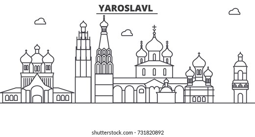Russia, Yaroslavl architecture line skyline illustration. Linear vector cityscape with famous landmarks, city sights, design icons. Landscape wtih editable strokes