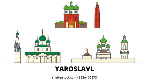 Russia, Yaroslavl flat landmarks vector illustration. Russia, Yaroslavl line city with famous travel sights, skyline, design.