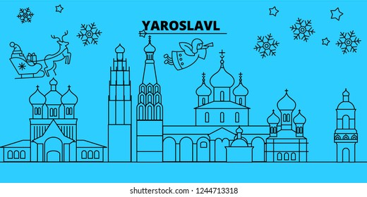 Russia, Yaroslavl winter holidays skyline. Merry Christmas, Happy New Year decorated banner with Santa Claus.Russia, Yaroslavl linear christmas city vector flat illustration