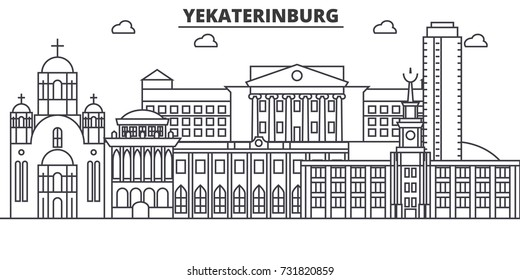 Russia, Yekaterinburg architecture line skyline illustration. Linear vector cityscape with famous landmarks, city sights, design icons. Landscape wtih editable strokes