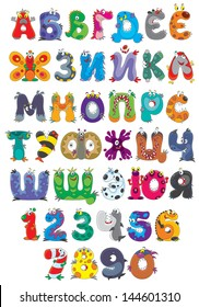Russian alphabet and numbers with funny monsters