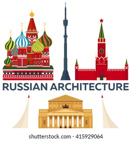 Russian Architecture. Modern flat design. St. Basil's Cathedral. Kremlin