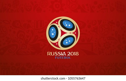 Russian ball and cup wallpaper, world of Russia pattern with modern and traditional elements, 2018 trend background, vector illustration. World of russian elements vector illustration football