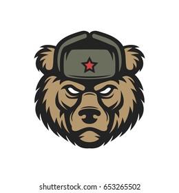 Russian bear in hat