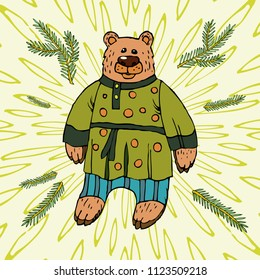 Russian bear, a national character in a suit. A symbol of Russian power, a hero of Russian fairy tales. Hand drawn sketch style against the background of radial rays. Vector illustration.