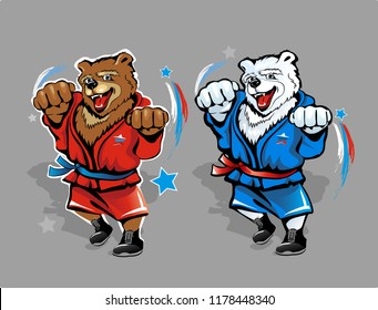 Russian bear wrestler isolated on background. Brown and polar bears in red and blue tracksuit. Vector illustration.