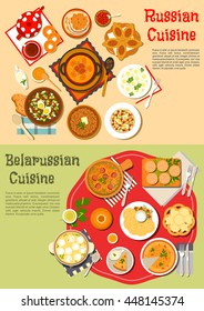 Russian and belarusian cuisine with cold soup and shchi, pies and knishes, buckwheat porridge and olivier salad, soup with dumplings and stew, tea, kvass, birch sap with bagels, cookies