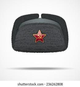29dac4504e2 Russian black fur winter hat ushanka with red star. Soviet Union uniform of  KGB and