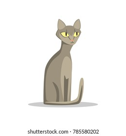 Russian blue cat with short hair and big yellow eyes. Cartoon domestic animal character with cute muzzle. Flat vector design for veterinary service or pet shop