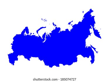 Russian blue vector map isolated on white background.Russia vector high detailed illustration.