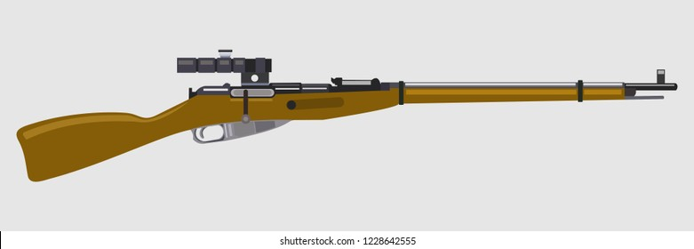 russian bolt action rifle vector illustration