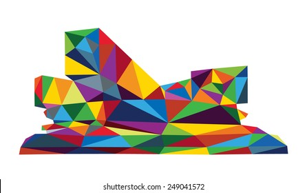 Russian business school Skolkovo Moscow in colorful triangle low polygon style