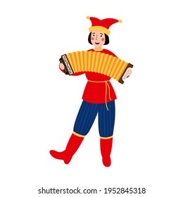Russian carnival character-Petrushka. A cheerful young man in a clown's cap with a bayan in his hands. The concept of celebrating Maslenitsa. Vector stock hand drawn illustration isolated on a white