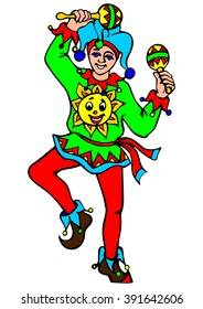 Russian clown dancing with rattles. Vector illustration