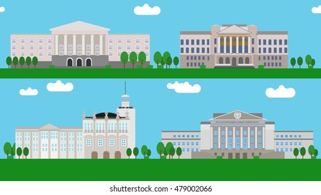 Russian College Buildings Flat Design