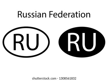Russian country code icon.  Iso code country domain name.  RU - Russian abbreviated. vector