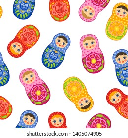 Russian craft doll seamless pattern. Babushka ethnic wooden souvenir. Matryoshka traditional nestling doll print. Bright colorful design. White background. Smiling girl. Wallpaper, textile fabric.