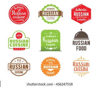 Russian cuisine, authentic traditional Russian food typographic design set. Vector logo, label, tag or badge for restaurant and menu. Russian cuisine isolated.