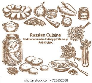 Russian cuisine, rassolnik ingredients, vector sketch