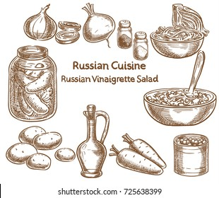Russian cuisine, russian vinaigrette salad, ingredients, vector sketch