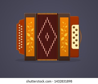 Russian culture music. Modern musical instrument accordion. Classic accordion, harmonious sound. Realistic keyboard wooden musical instrument. Vector illustration isolated.