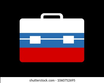 Russian diplomatic bag as metaphor of diplomacy, ambassy, diplomat and ambassador of Russia. Vector illustration