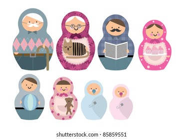 russian doll family vector/illustration
