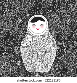 Russian doll matrioshka Babushka smiling face with pink cheeks, sketch flowers and leaves contours on black background. Vector
