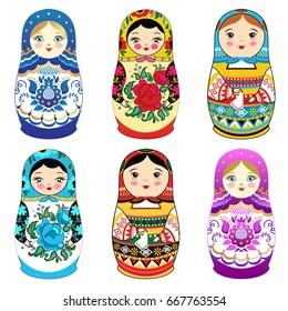 Russian doll matrioshka with smiling face and pink cheeks, sketch flowers and leaves contours on white background. Babushka. Vector illustration.