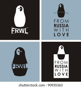"""Russian doll - matryoshka # 00. Drawing on the basis of the stylized image the nested dolls entering into a series """"From Russia with love""""."""