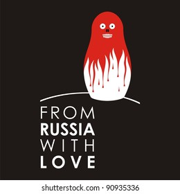 """Russian doll - matryoshka # 01. Drawing on the basis of the stylized image the nested dolls entering into a series """"From Russia with love""""."""