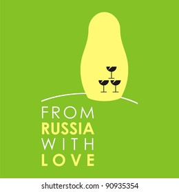 """Russian doll - matryoshka # 06. Drawing on the basis of the stylized image the nested dolls entering into a series """"From Russia with love""""."""