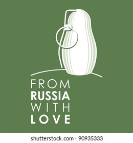 """Russian doll - matryoshka # 08. Drawing on the basis of the stylized image the nested dolls entering into a series """"From Russia with love""""."""