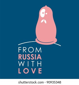 """Russian doll - matryoshka # 10. Drawing on the basis of the stylized image the nested dolls entering into a series """"From Russia with love""""."""